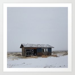 Hopeless, Abandoned, and Alone Under Grey Snow Filled Sky Art Print