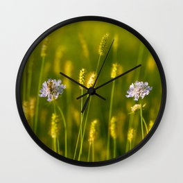 Flowery meadow and the bee Wall Clock