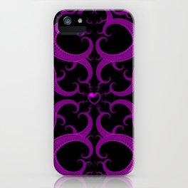 Purple Gothic Fractal Heart Pattern iPhone Case