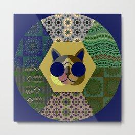 Cat in sunglasses - patchwork23 Metal Print
