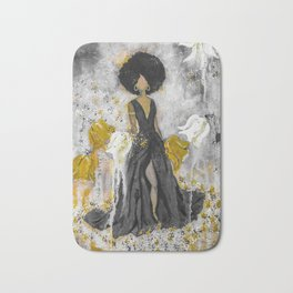 Dear Queen Black and Gold Bath Mat