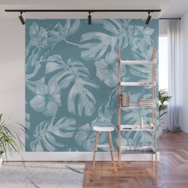 Tropical Escape Teal Blue Leaves + Hibiscus Wall Mural