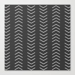 Mudcloth Black white arrows Canvas Print