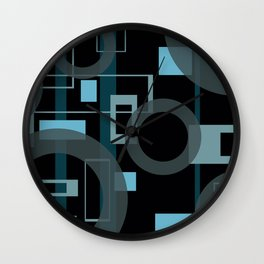 Blue turquoise rectangles black background Wall Clock