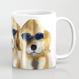 Yellow dogs  in funny glasses Coffee Mug