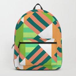 Multicoloured Geometric Block Striped Pattern Backpack