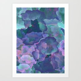 Blue and teal abstract watercolor Art Print