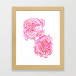Pink and gold peonies, Sally Framed Art Print