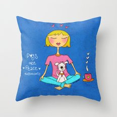 Dogs Are Peace ❤️ Throw Pillow