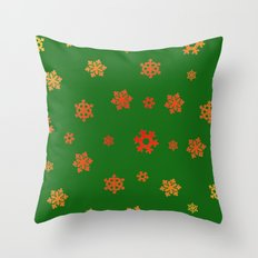 Snowflakes (Red & Gold on Green) Throw Pillow