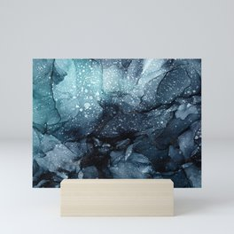 Moody Ocean Seas Ink Abstract Painting Mini Art Print