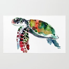 Sea Turtle Olive green, Sage green, Purple Turtle artwork Rug
