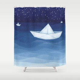 Paper boats illustration Shower Curtain