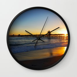 San Clemente Ca pier sunset Wall Clock