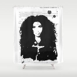 Giselle pure black and white Shower Curtain