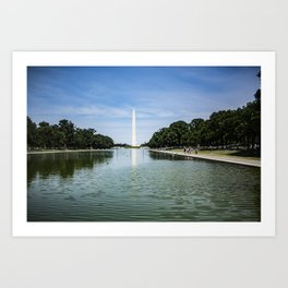 Washington Monument at the Reflecting Pool near Lincoln Memorial on National Mall, DC Art Print