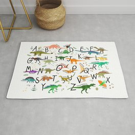 Colorful dinosaur alphabet Rug