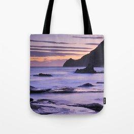 Vela blanca tower. Purple beach Tote Bag