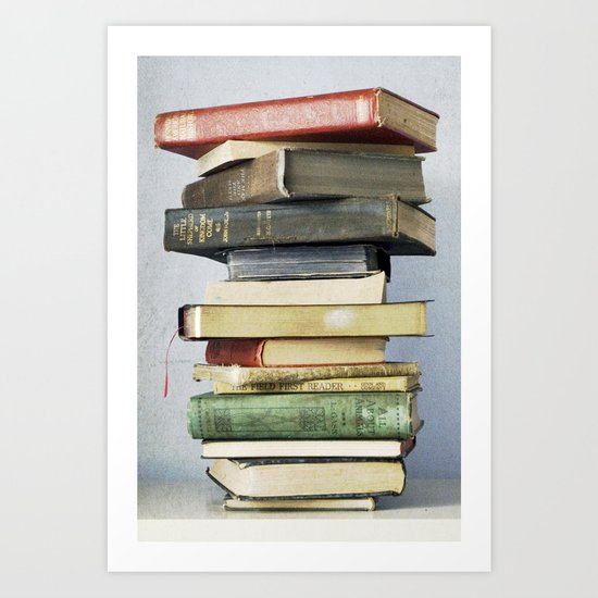Stacked Vintage Books Art Print