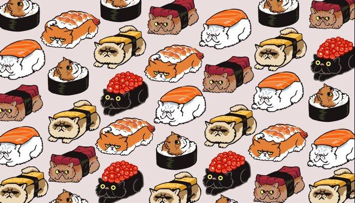 Sushi Persian Cat Pillow Sham
