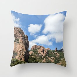 Seacoast of the Esterel Natural Park in French Riviera Throw Pillow