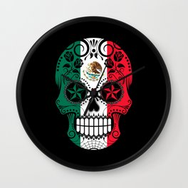 Sugar Skull with Roses and Flag of Mexico Wall Clock
