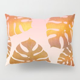 Copper Monstera Leaves Pillow Sham