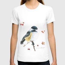 Christmas Chickadee by Teresa Thompson T-shirt