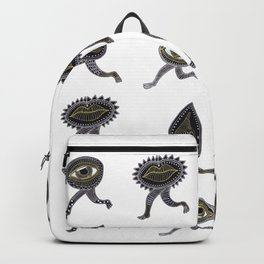 running surreal eyes mouth and nose creatures Backpack