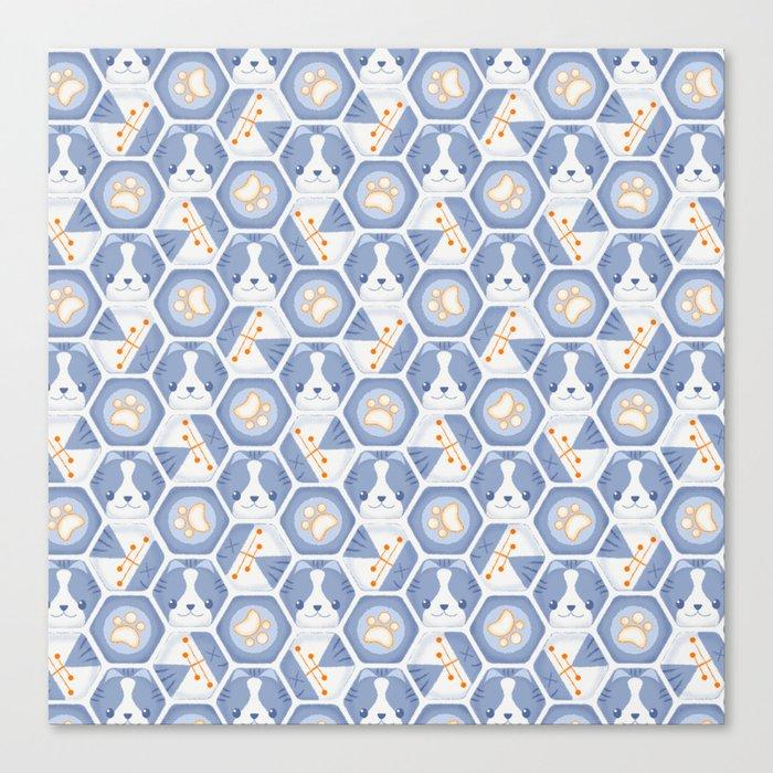 Hexy Cats_Blue Canvas Print
