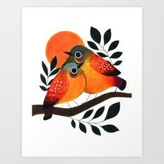 Fluffy Birds Art Print