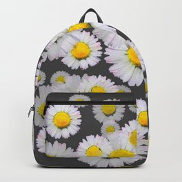 CHARCOAL GREY GARDEN OF SHASTA DAISY FLOWERS Backpack