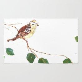 Bird painted on wood Rug