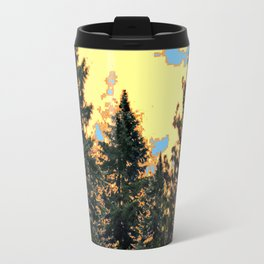 SUNNY DAY PINE TREES FOREST BROWN ART Travel Mug