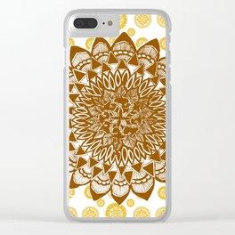 Copper Brown Mandala Over Citrus Mandala Pattern Clear iPhone Case
