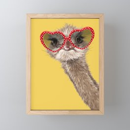 Fashion Hipster Ostrich in Yellow Framed Mini Art Print
