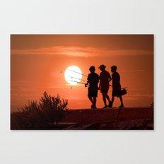 Three boys gone fishing at sunset Canvas Print