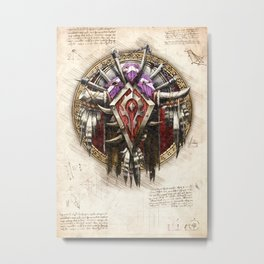 Horde crest sigil symbol wow da vinci style artwork Metal Print