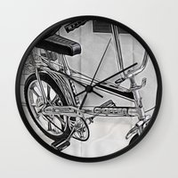 70s Wall Clocks featuring 70s Iconic Bike Uk by Paul & Fe Photography