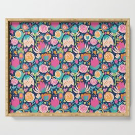 Blooming Burst - Navy Serving Tray