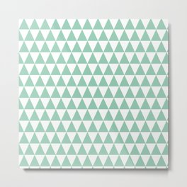 Green Mint and White Triangle Pattern Metal Print