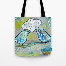 blue bird chat Tote Bag