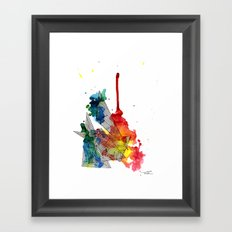 Watercolor and Fine Liner Triangles Framed Art Print