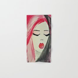 Shy Girl. Abstract Pink Girl. Pink Lips. Pink Hair. Jodilynpaintings. Eyelashes. Gift for All Girls. Hand & Bath Towel