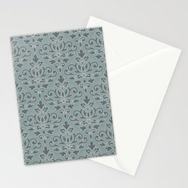 Scroll Damask (outline) Pattern Blue Cream Teal Stationery Cards