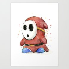 Shy Guy Watercolor Mario Art Art Print
