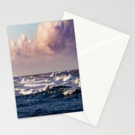 Blue Ocean And Pink Sky With Cloud Before Sunset Stationery Cards