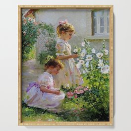 Beautiful Painting Of Two Girls Picking Flowers Serving Tray