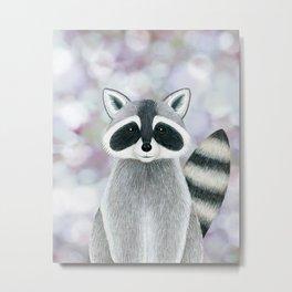 raccoon woodland animal portrait Metal Print