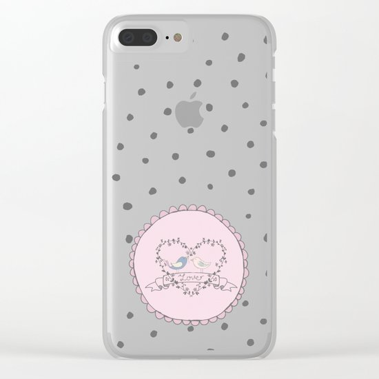 Birds  Love- Typography and grey dots on pink backround Clear iPhone Case